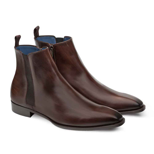 Mezlan Brock Brown Calfskin Leather Plain Toe Mens Chelsea Boot