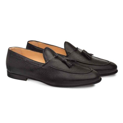 Mezlan Montier Black Apron Toe Deerskin Mens Tassel Loafer