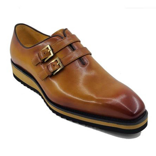 Carrucci Cognac Calfskin Double Monk Soft Sole Mens Casual Loafer