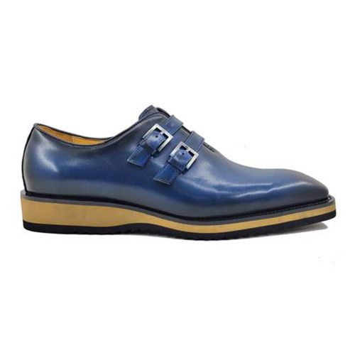 Carrucci Navy Calfskin Double Monk Soft Sole Mens Casual Loafer