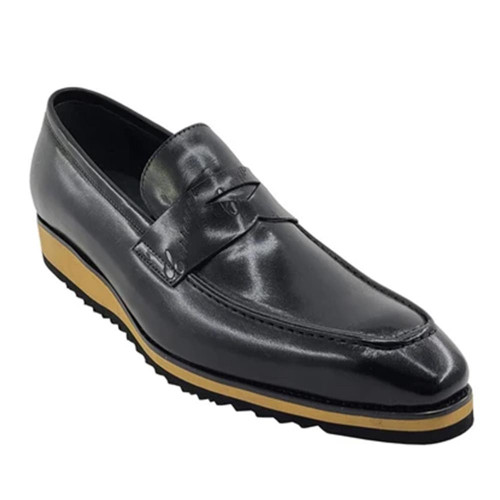 Carrucci Black Signature Casual Light Weight Sole Mens Penny Loafer