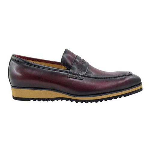 Carrucci Burgundy Signature Casual Light Weight Sole Mens Penny Loafer