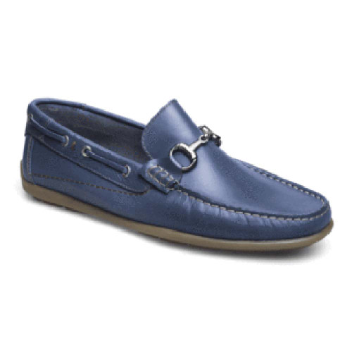 Sandro Moscoloni Milan Blue Genuine Leather Moc Toe Mens Loafer