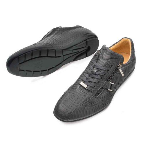 Mezlan Asahi Black Genuine Water Snake Mens Sneaker