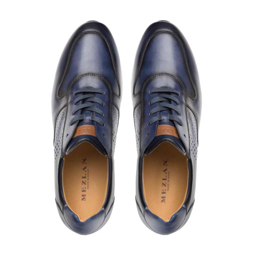 Mezlan Patina Blue Calfskin Leather Mens Hybrid Sneaker