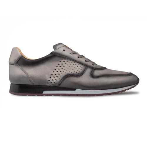Mezlan Patina Grey Calfskin Leather Mens Hybrid Sneaker