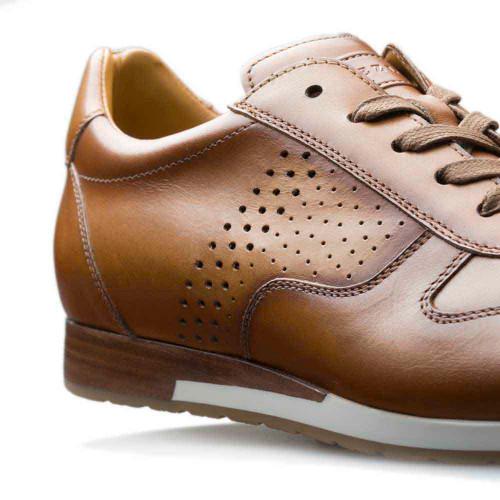 Mezlan Patina Tan Calfskin Leather Mens Hybrid Sneaker