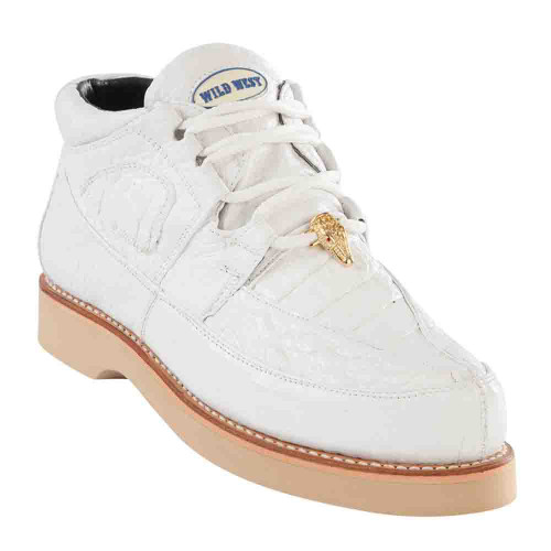 Wild West White Genuine Caiman with Smooth Ostrich Mens Casual Sneaker