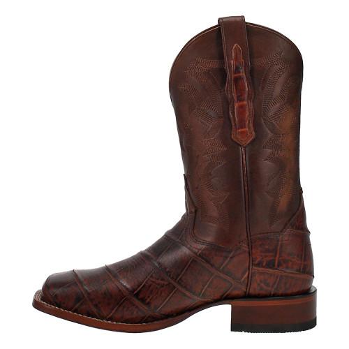 """Dan Post Akers Cognac Leather Faux Gator Print 11"""" Broad Square Toe Mens Boot"""