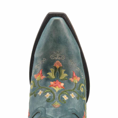 """Dan Post Turquoise Flower Child Embroidery 20"""" Snip Toe Womens Boot"""