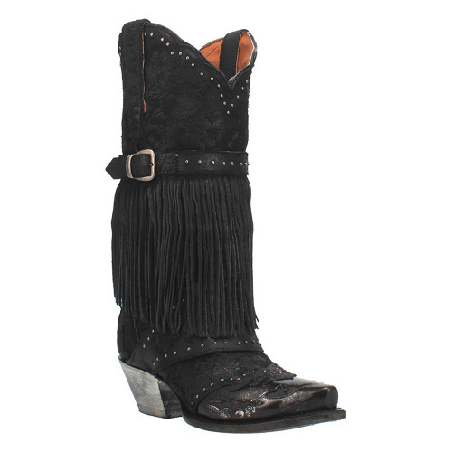 """Dan Post Black Bed of Roses Leather 12"""" Snip Toe Womens Boot"""