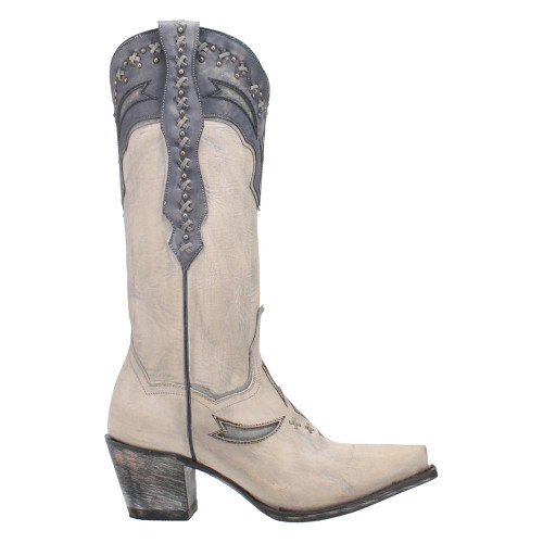 "Dan Post White & Silver Shiver Leather 13"" Snip Toe Womens Boot"