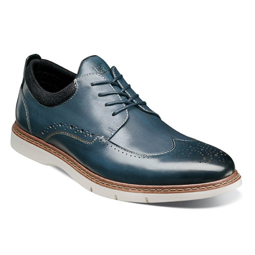 Stacy Adams Synergy Blue Smooth Leather Mens Wingtip Oxford