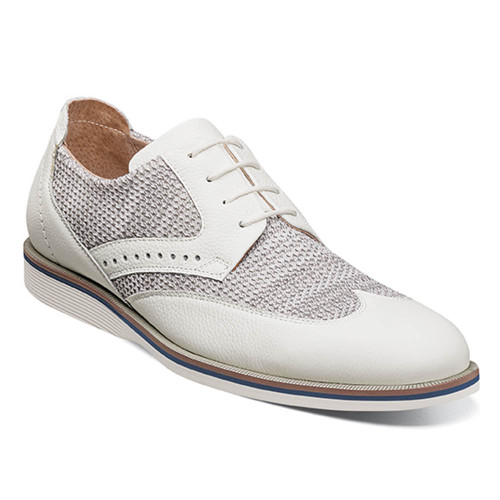 Stacy Adams Locke White Leather & Textile Mens Wingtip Oxford
