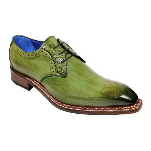 Fennix Tyler Olive Genuine Alligator Calfskin Leather Mens Oxford