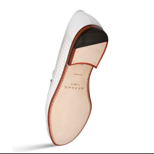 Mezlan White Woven Calfskin & Calf Accents Mens Loafer