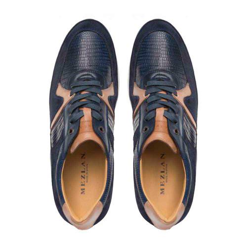 Mezlan Blue Suede Genuine Lizard Calfskin Combo Mens Sneakers