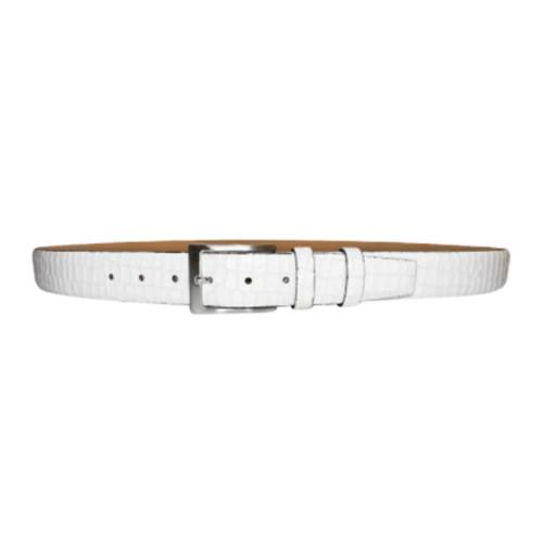 Corrente White Croco Print Matching Dress Leather Mens Belt