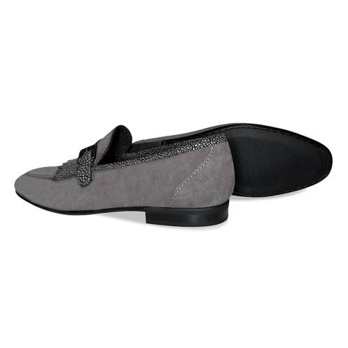 Corrente Smoke Grey Suede Leather Kiltie Mens Slip On Loafers