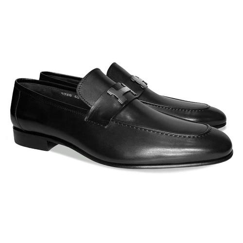 Corrente Black Calfskin Leather Mens Loafer