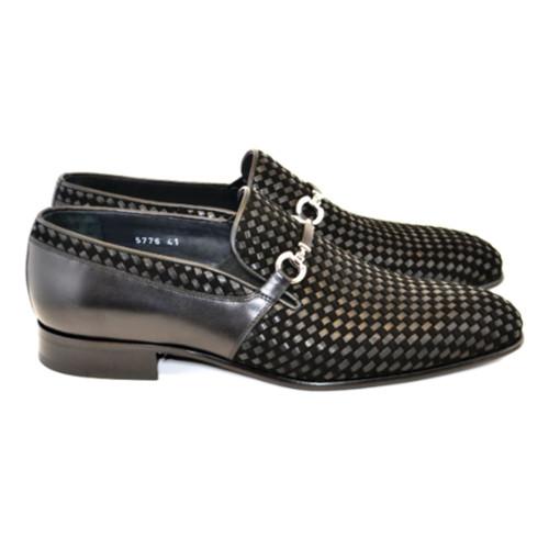 Corrente Black Woven Calfskin Leather Mens Slip On Loafer