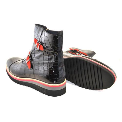 Corrente Black Crocodile Print Calfskin Leather Side Zipper Mens Boot