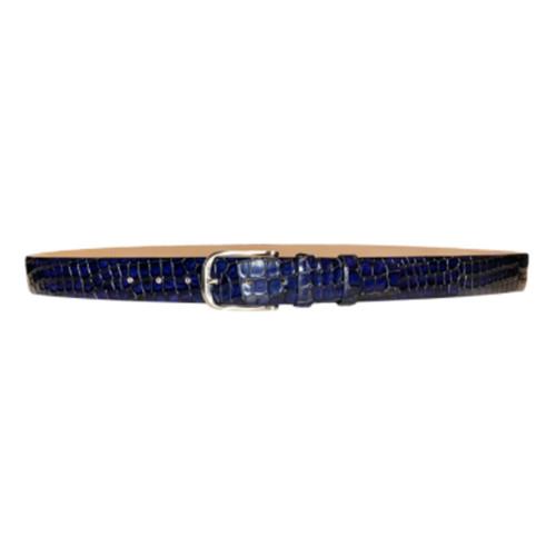 Corrente Navy Croco Print Matching Dress Leather Mens Belt