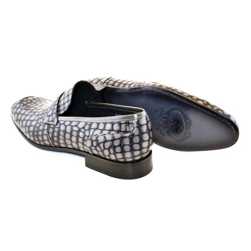 Corrente Grey Crocodile Print Calfskin Men Slip On Penny Loafer