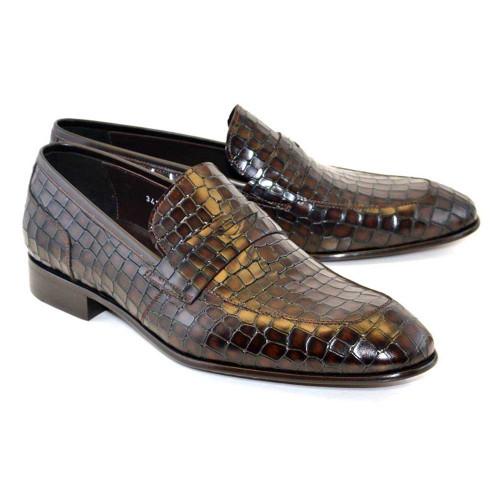 Corrente Tobacco Crocodile Print Calfskin Men Slip On Penny Loafer