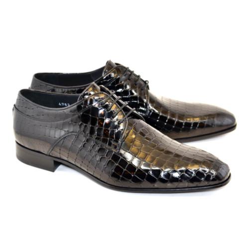 Corrente Black Crocodile Print Calfskin Leather Mens Lace Up Oxford