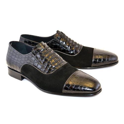 Corrente Black Crocodile Print Calfskin & Suede Leather Fake Laces Mens Slip On