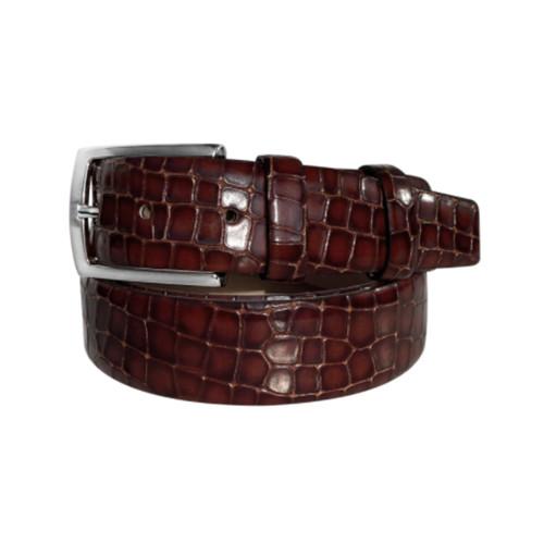 Corrente Tobacco Crocodile Print Calfskin & Suede Leather Fake Laces Mens Slip On