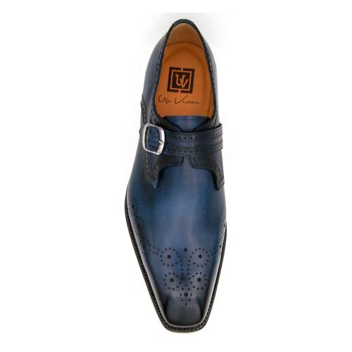 Ugo Vasare Eric Sapphire Blu Calfskin Leather Monk Strap Mens Slip On Loafer
