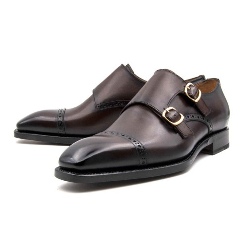 Ugo Vasare Ryan Brown Calfskin Leather Double Buckle Monk Strap Mens Loafer