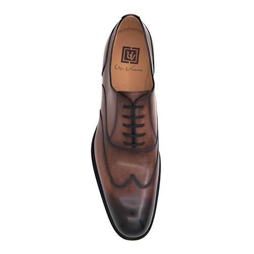 Ugo Vasare Wick Walnut Calfskin Leather Mens Wingtip Oxford