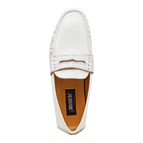 Mauri White Crocodile & Embossed Patent Leather Mens Slip On Loafer