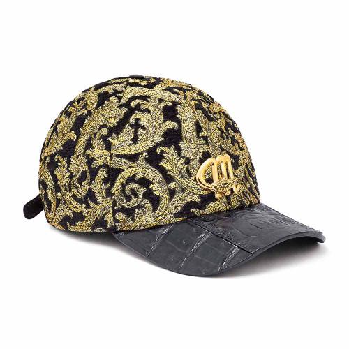 Mauri H-65 Black & Gold Baby Crocodile & Didier Fabric Cap