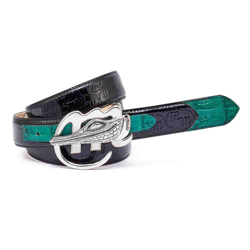Mauri Black and Leaf Green Mens Matching Belt