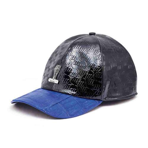 Mauri H-65 Black & Royal Blue Baby Crocodile Embossed Patent Leather Cap