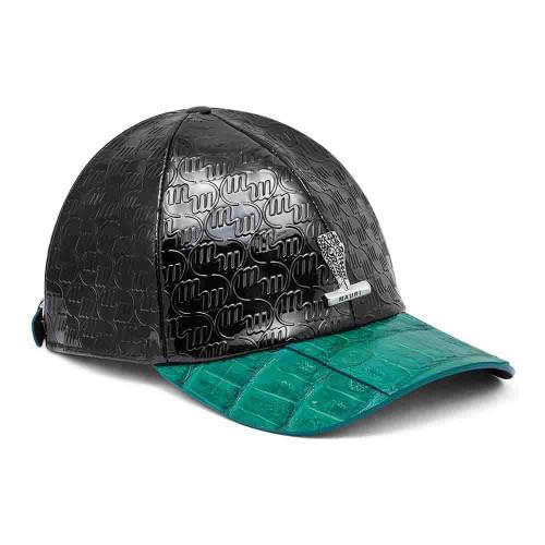 Mauri H-65 Black & Green Baby Crocodile Embossed Patent Leather Cap