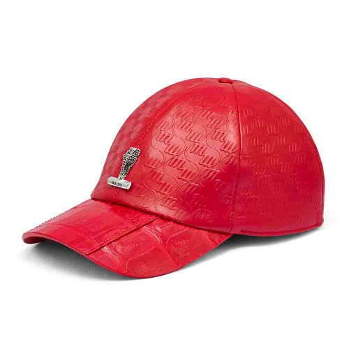Mauri Red Baby Crocodile Embossed Patent Leather Cap