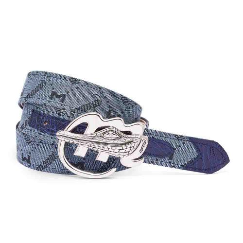 Mauri Wonder Blue Ostrich Leg & Mauri Fabric Matching Belt