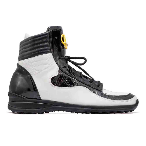 Mauri Flash Black & White Baby Crocodile Embossed Patent Leather Mens Sneaker