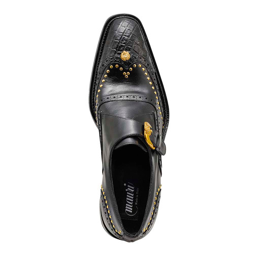 Mauri Godfather Black Body Alligator & Calf Monk Strap Mens Dress Shoes