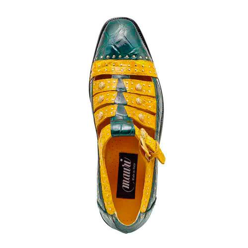 Mauri Olympus Hunter Green & Taxi Yellow Body Alligator Croco Flanks Mens Sandals