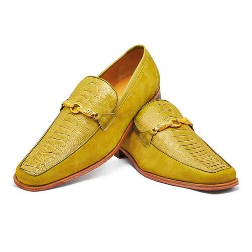 Mauri Priest Apple Ostrich Leg & Suede Leather Mens Slip On Loafer