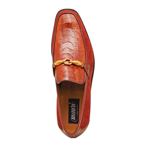 Mauri Priest Gold Ostrich Leg & Suede Leather Mens Slip On Loafer