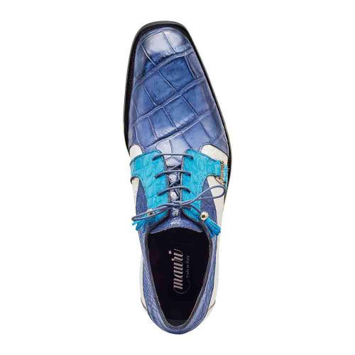 Mauri Capone Carribean Blue & White Alligator Mens Dress Shoes