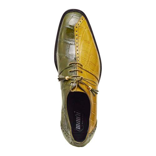 Mauri Tow Face Money Green & Khakee Body Alligator Mens Dress Shoe