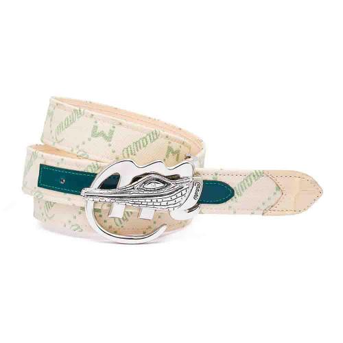 Mauri Green & Cream Fabric Mauri Logo Matching Belt